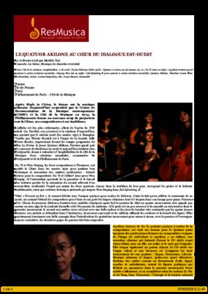 Le Quatuor Akilone au cœur du dialogue Est-Ouest « Concerts « La Scène « ResMusica